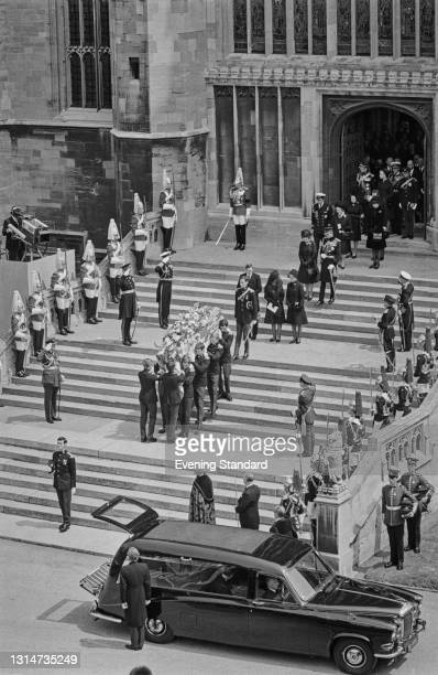 The funeral of Prince Henry, Duke of Gloucester leaves St George's Chapel in Windsor, UK, 14th June 1974.