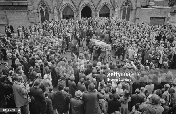 The funeral of Provisional IRA member Michael Gaughan at the Church of the Sacred Heart of Jesus in Kilburn, London, UK, 8th June 1974. Gaughan died...