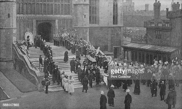 The funeral of Queen Victoria 1901 The coffin being carried into St George's Chapel Windsor From Harmsworth History of the World Volume 7 by Arthur...
