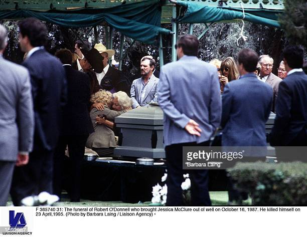 The funeral of Robert O''Donnell who brought Jessica McClure out of well on October 16 1987 He killed himself on 23 April1995