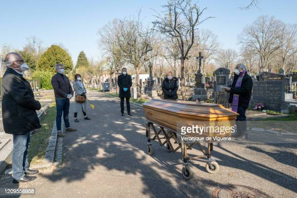 The funeral of Simone Piquemal, an elderly woman who died of COVID-19, on April 2, 2020 in Mulhouse, France. Despite her large family of 5 children,...