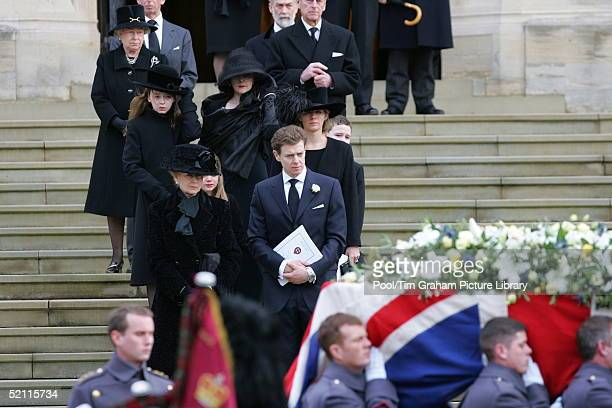 The Funeral Of Sir Angus Ogilvy At St George's Chapel At Windsor Castle His Widow Princess Alexandra Accompanied By Her Son James Ogilvy And her...