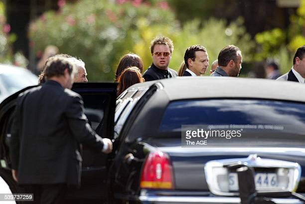 The funeral of slain underworld figure Andrew Benji Veniamin at the Greek Orthodox Parish of St Andrews Carl Williams carries the coffin to the...