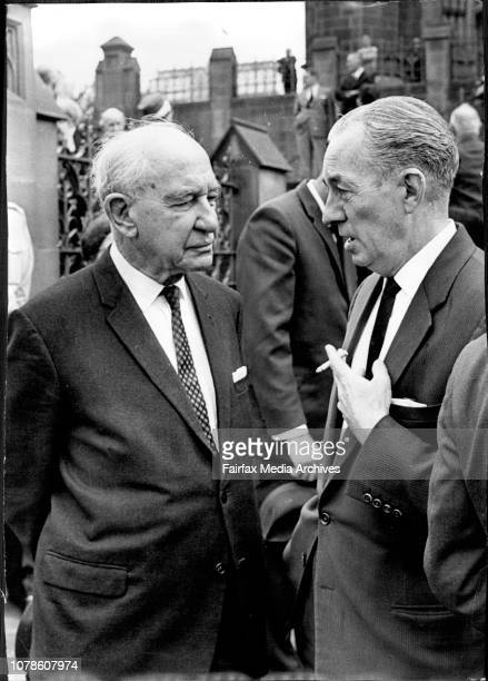 The funeral of the Late Jim Kenny after a Requiem Mass at St Mary's cathedralMourners were LR Sir William McKell and J Cope Federal member for Watson...