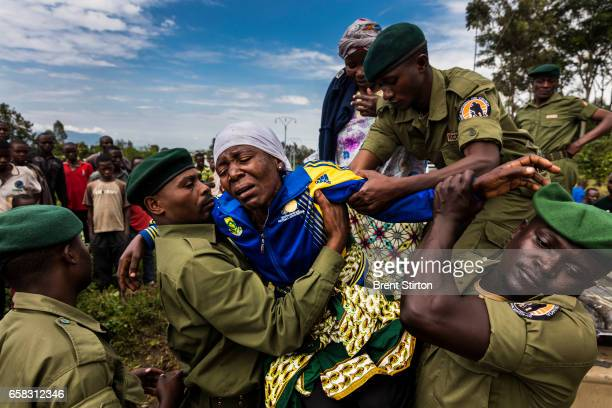 The funeral of Theodore Mbusa Matofali a Congolese park ranger who died in a car accident near Rumangabo DRC November 2015