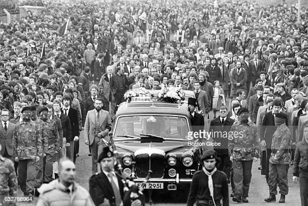 The funeral procession for Bobby Sands in Belfast Ireland on May 7 1981 Sands an Irish Republican Army member died two days earlier on the 66th day...
