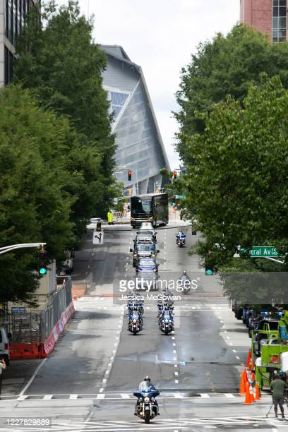 The funeral procession for civil rights icon, former US Rep. John Lewis arrives at the Georgia State Capitol on July 29, 2020 in Atlanta, Georgia....