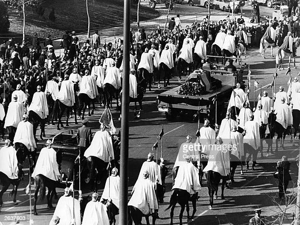 The funeral procession for General Francisco Franco heading towards the Valley of the Fallen in Madrid