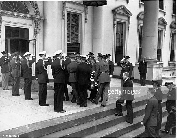 The funeral procession for President Franklin Roosevelt ends at the White House after it began at Union Station. The President died of a cerebral...