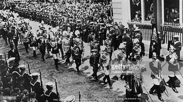 The funeral procession of King Edward VII as it passes through Windsor Royal mourners include Kaiser Wilhelm II of Germany and Prussia to his left...