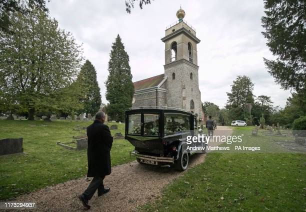 The funeral procession of Libby Squire arrives at St LawrenceÍs Church in West Wycombe Buckinghamshire