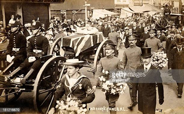 The funeral procession of Samuel Franklin Cody an early pioneer of manned flight who was killed in a flying accident whilst testing his latest design...