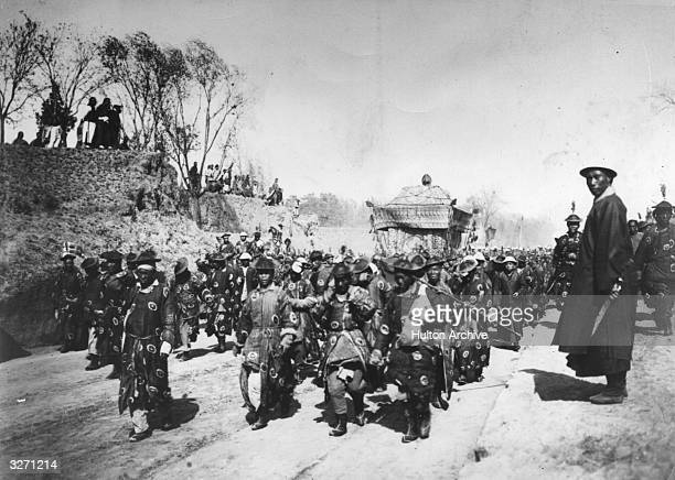 The funeral procession of the Empress Dowager TzuHsi or Cixi of China widow of the last Manchu Emperor Xianfeng