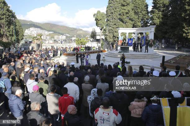 The funeral service in the Cemetery of Salerno for 26 young women found in the Mediterranean sea having drowned because their boat sank near the...