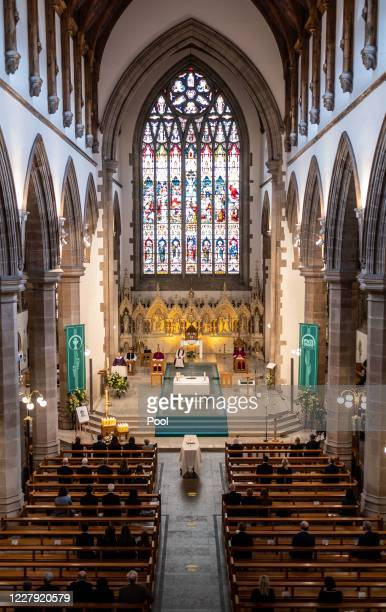 The funeral takes place of former SDLP leader and Nobel Peace Prize winner John Hume at St Eugenes cathedral on August 5 2020 in Londonderry Northern...