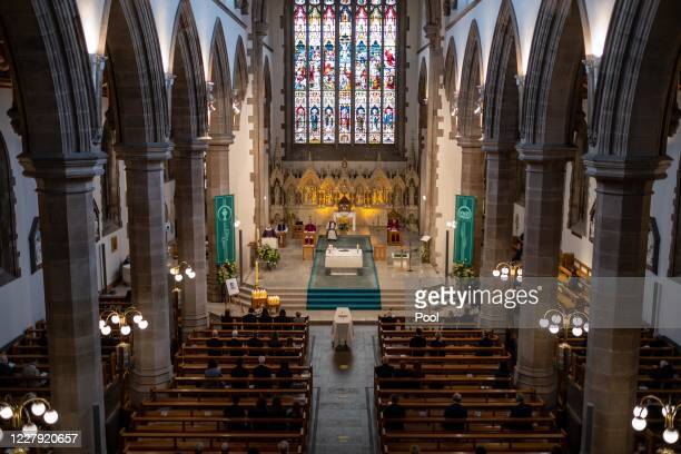 The funeral takes place of former SDLP leader and Nobel Peace Prize winner John Hume at St Eugene's cathedral on August 5, 2020 in Londonderry,...