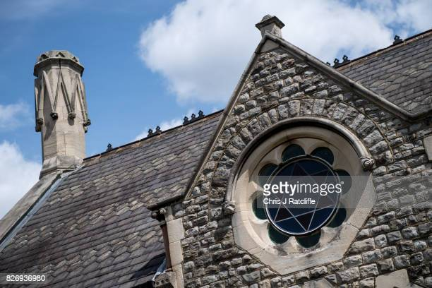 The funerary buildings at Willesden Jewish Cemetery also known as the United Synagogue Cemetery are seen amongst the cemetery on August 6 2017 in...