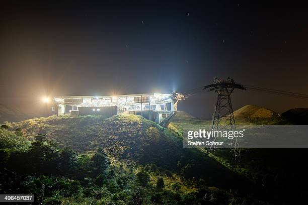 """The funicular station of the """"Ngong Ping 360"""" on a mountain dome in Hong Kong."""