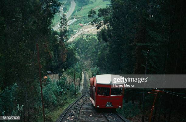 The funicular tram up Monserrate mountain in Bogota Colombia South America 1975