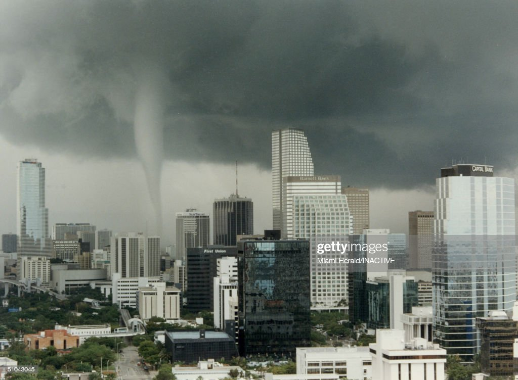 The Funnel Of A Tornado Touches Down May 12, 1997 In Miami, Fl. Five People Were Injured And Approximately Twenty Thousand Residents Lost Power When The Storm Struck Downtown Miami.