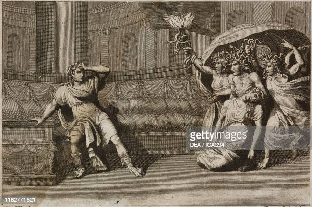 The Furies exhibiting to Nero the body of his mother Agrippina whom he had ordered to kill Plate 11 engraving by Persichini from a drawing by Pinelli...