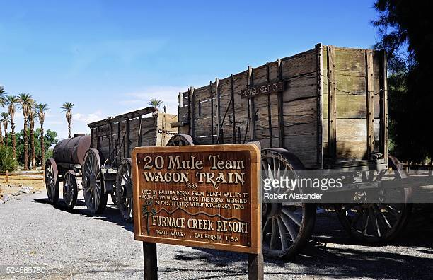The Furnace Creek Ranch complex in Death Valley National Park in California includes an exhibit of early mining equipment including a 20 Mule Team...