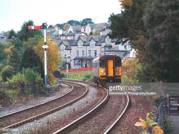 The Furness Coast has attractive vegetation around Grange over Sands as shown in this scene of a Class 153 unit approaching Grange over Sands with a...