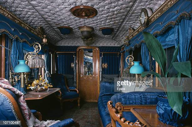 The furnished interior of Queen Victoria's saloon carriage on board the royal train on display at York railway museum Yorkshire September 1977