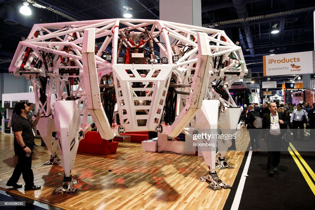 The Furrion Prosthesis robot stands at the 2018 Consumer Electronics Show (CES) in Las Vegas, Nevada, U.S., on Thursday, Jan. 11, 2018. Electric and driverless cars will remain a big part of this year's CES, as makers of high-tech cameras, batteries, and AI software vie to climb into automakers' dashboards. Photographer: Patrick T. Fallon/Bloomberg via Getty Images
