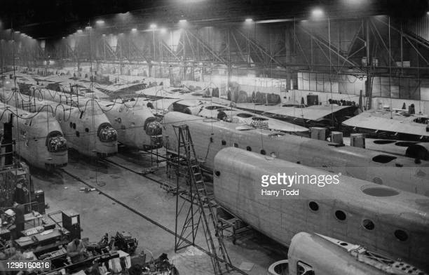 The fuselage and wing components for the Short Stirling four-engined heavy bomber being assembled for service with Royal Air Force Bomber Command at...