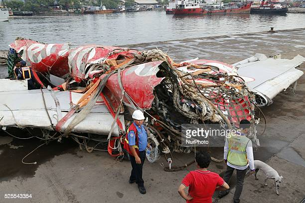 The fuselage of AirAsia QZ8501 on a vessel at the Tanjung Priok port in Jakarta on March 2 2015 Indonesia has retrieved the final major part of the...