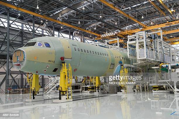 The fuselage of an Airbus A321 is seen on the eve of the inauguration of Airbus' first US manufacturing facility in Mobile Alabama on September 13...