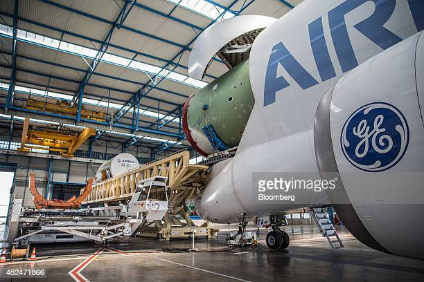 The fuselages of an Airbus A320 left and A380 Cargo aircraft are unloaded from an Airbus A300600 Beluga super transporter aircraft in the Airbus...