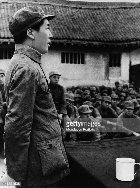 The future dictator and President of the Chinese Communist Party Mao Zedong speaking to the Second SinoJapanese War troops China 1930s