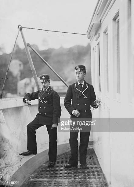 The future King George V with his older brother the Duke of Clarence as cadets of the Royal Navy, circa 1877. They were both assigned to the training...