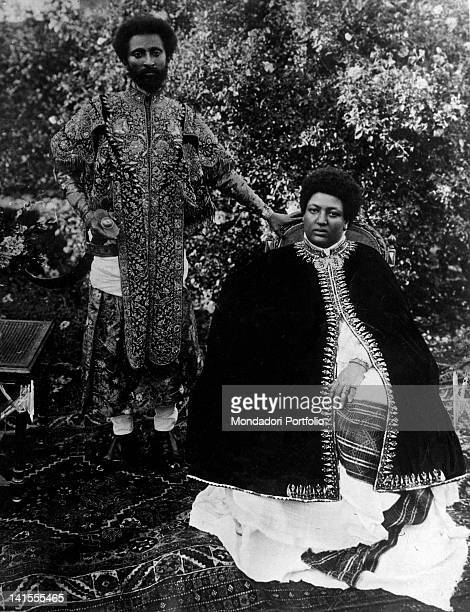 The future Negus of Ethiopia Haile Selassie I posing with his wife Menen Asfaw 1910s