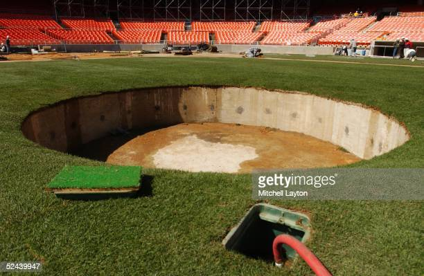 The future pitchers mound at RFK Stadium, home of the Washington Nations during renovations on April 03, 2005 in Washington, D.C.
