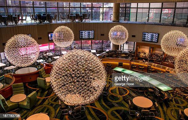 The futuristic bar on the 8th floor of the Marriott Marquis Hotel in Times Square is viewed on October 21 2013 in New York City With a full schedule...