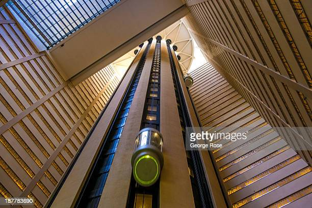 The futuristic elevators at the Marriott Marquis Hotel in Times Square are viewed on October 21 2013 in New York City With a full schedule of...