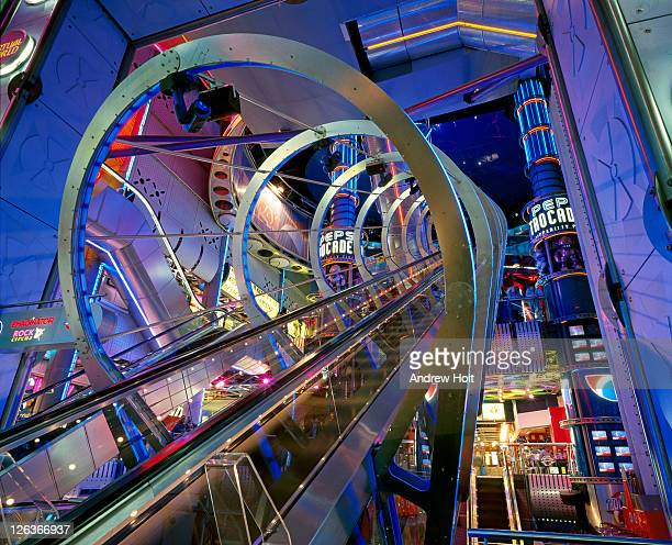 The futuristic space-age interior of the London Trocadero shopping and entertainment centre.