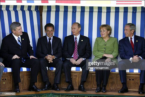 The G8 Heads of States are posing for a family photo in a huge deckchair In Heiligendamm Germany On June 07 2007Canadian Prime Minister Stephen...