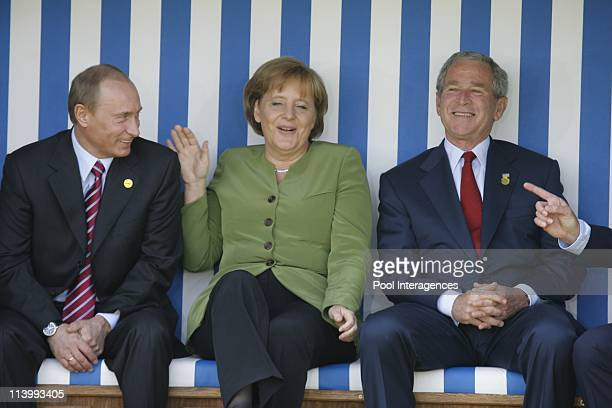 The G8 Heads of States are posing for a family photo in a huge deckchair In Heiligendamm Germany On June 07 2007Russian President Vladimir Putin...