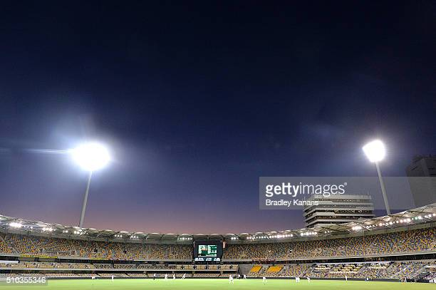 The Gabba is seen under lights as the sun sets on the first Sheffield Shield match played under lights during day two of the Sheffield Shield match...