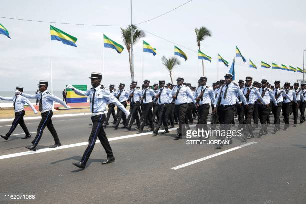 TOPSHOT The Gabonese military parade during the country's independence day celebrations in Libreville on August 17 marking the country's independence...