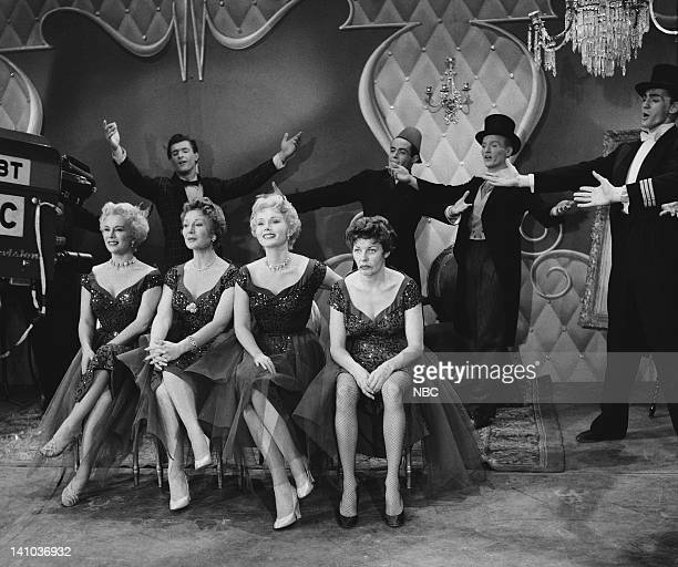 REVUE The Gabor Sisters Episode 402 Pictured Eva Gabor Magda Gabor Zsa Zsa Gabor Martha Raye as Marta Gabor and dancers Photo by NBC/NBCU Photo Bank