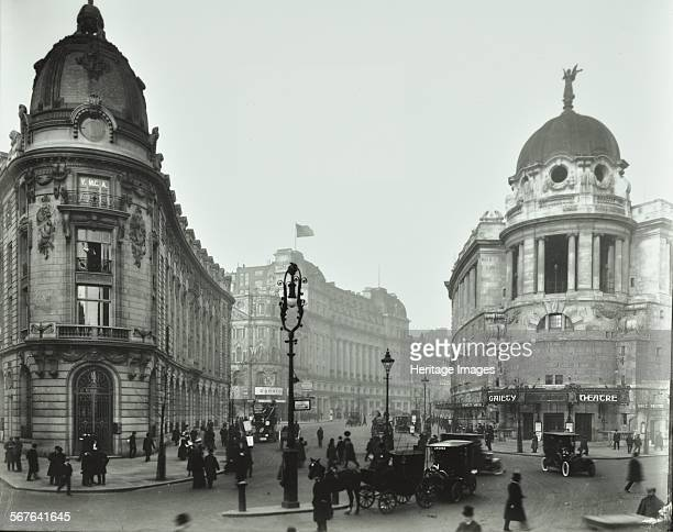 The Gaiety Theatre Aldwych London 1909 View from Wellington Street towards the theatre and the Waldorf Hotel Cars horsedrawn vehicles and pedestrians...