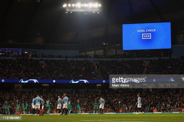 The gains screen shows a VAR system message during the UEFA Champions League Quarter Final second leg match between Manchester City and Tottenham...