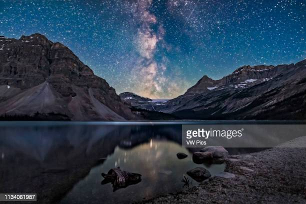 The galactic centre region of the Milky Way in Sagittarius setting behind Bow Glacier at the end of Bow Lake in Banff National Park Alberta This was...