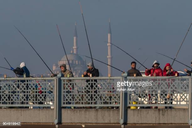 The Galata Bridge, Eminonu,Fatih district in Istanbul,Turkey