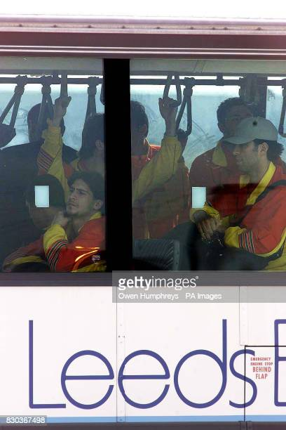 The Galatasaray team arrive at Leeds Bradford Airport amid tight security ahead of their return UEFA Cup football match against Leeds United West...